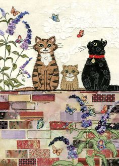 Awesome inspiration for free motion embroidery and raw edge applique - on a website called Bug Art . Free Motion Embroidery, Machine Embroidery, Embroidery Applique, Illustration Noel, Illustrations, Sewing Machine Drawing, Art Carte, Cat Applique, Bug Art