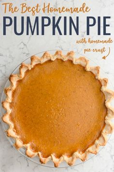 Homemade Pumpkin Pie made with simple ingredients that makes for a nostalgic holiday favorite. Elevate this classic dessert with a homemade pie crust and top it with a dollop homemade whipped cream! Frozen Pumpkin, Homemade Pumpkin Pie, Pumpkin Pie Recipes, Canned Pumpkin, Pumpkin Pie Spice, Köstliche Desserts, Sweets Recipes, Delicious Desserts, Best Thanksgiving Recipes