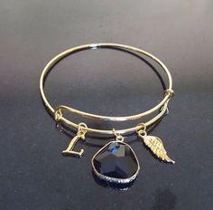 Charm Bracelet, Bangle Bracelet, Stacking Bangle, Gemstone, Initial, Personalize #Handmade