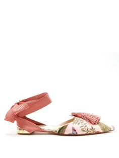 Aquazurra's hyper-feminine aesthetic is twisted with artisanal nuances for Pre-AW17 with the assistance of interior company de Gournay. These pink Love flats are decorated with softly hued wallpaper-esque embroidery and swishing tassels that nod to the latter label's penchant for vintage designs. With a small gold-tone heel and wraparound ankle ties, they're a comfortable way of bringing further impact to a colour-block dress.