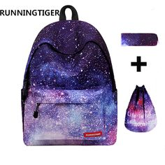 RUNNINGTIGER 3pcs Sets Girls School Bags Women Printing Backpack School Bags For Teenage Girls Shoulder Drawstring Bags. Click visit to buy