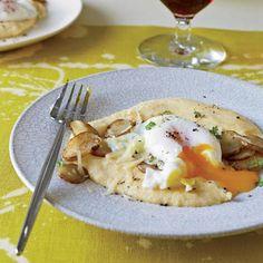 Poached Eggs with Sunchokes and Comté Polenta minus the polenta