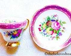 RESERVED FOR A-EB Foley Pink Floral Pedestal 1930's Teacup and Saucer - Edit Listing - Etsy