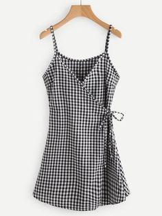 Black and White Checkered Spaghetti Strap Self Tie Wrap Cami Dress Look Fashion, Fashion Outfits, Womens Fashion, Fashion Design, Dress Fashion, Trendy Fashion, Summer Outfits, Cute Outfits, Summer Dresses