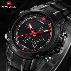 NAVIFORCE watches men Sports watches Black steel Dual time Digital Quartz Watch waterproof casual business japan movt wristwatch
