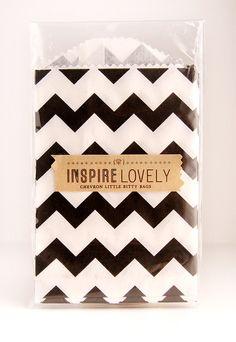 20 Sweet Chevron Bags- Black. $5.00, via Etsy from inspire lovely