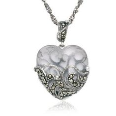 """Sterling Silver Marcasite and Clear Glass Heart Pendant Necklace , 18"""" #women'sjewelry #women'ssterlingsilvernecklace #women'spendantnecklace"""