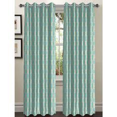 Window Elements Wesley Extra Wide Geometric Sheer Grommet Curtain Panels Color: Aqua