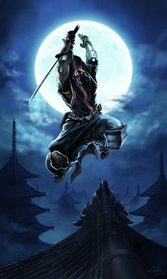 Ninja – fantasy character concept by tDsuke - Ninja Kunst, Arte Ninja, Ninja Art, Hannya Samurai, Samurai Tattoo, Ninja Wallpaper, Samurai Wallpaper, Ninja Warrior, Samurai Warrior