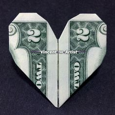 Money Origami Heart - Made with $2 bill