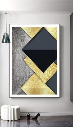 Art Fractal, Mid Century Wall Art, Gold Leaf Art, Modern Art Paintings, Shape Art, Art Mural, Office Art, Diy Wall Art, Geometric Art