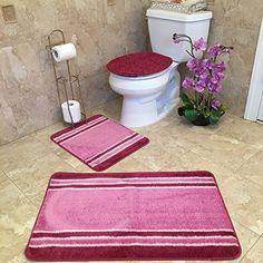 3Piece Bathroom Rug Sets  Antibacterial Rubber Back Nonskid Stunning 3 Piece Bathroom Rug Sets Inspiration Design