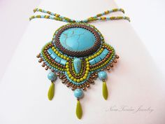 Bead embroidery necklace  Turquoise howlit by NoraTordaiJewelry, Ft22500.00