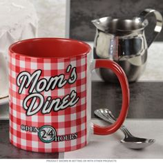 Mom's Diner Gingham Coffee Cup | Coffee Mugs for Mom | RetroPlanet.com Perfect gift for mom! Moms diner mug vintage style retro open 24 hours