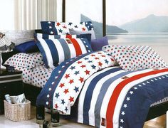 Americana sheets in white, red and blue colors. Perfect gift for Moms-sleepers :) #bed #bedroom