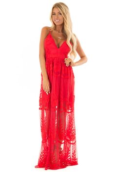Scarlet Embroidered Lace Maxi Dress with Criss Cross Straps Casual Dresses, Fashion Dresses, Prom Dresses, Fabulous Dresses, Embroidered Lace, Fashion Beauty, My Style, Lace Maxi, Scarlet