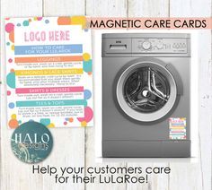 This design was home office approved.  This listing is for the MAGNET shown in the FIRST listing image only. Help your customers remember how to care for their new clothes! LuLaRoe MAGNETIC Care Card - 4.2x5.5  PRICES 10-50 - $2 each 70-100 - $1.50 each 200+ - $1 each  These designs HAVE been home office approved.  Please include all contact info you want to appear on your cards in the notes to seller section at checkout. Name, Phone, Facebook, Instagram, Periscope, Email, Twitter…