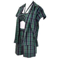 Dorothy Cox 1940s McMullen Rare Playsuit Plaid Shorts Shirt Halter Bandeau Top