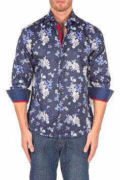 BESPOKE - Navy Long Sleeve Dress Shirt - Modern Fit - 162563
