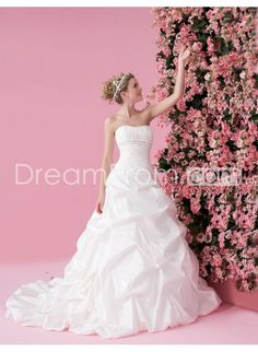 Taffeta Rouched Bodice with Asymmetrical Pick up A line Skirt 2010 Wedding Dress WD-0078
