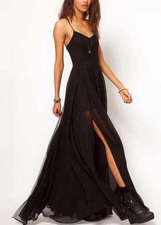 Charming Spaghetti Strap Black Maxi Dress with Slit Design