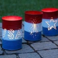 Patriotic tin can lights...for camping...add a citronella candle