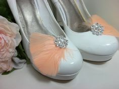 Bridal Shoe Clips Feather Shoe Clips Crystal by ShoeClipsOnly, $24.00