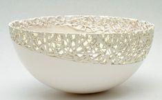 Beautiful delicate large ceramic bowl - looks fabulous!