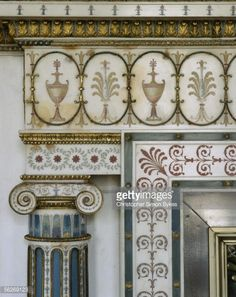 Classical ornamentation on an interior wall of Syon House, Middlesex, 1980s.