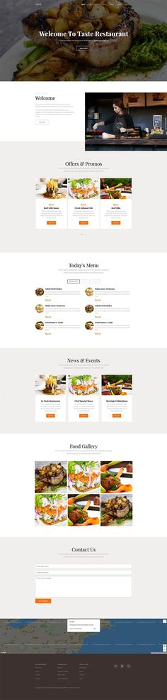 Free Resource to explore your imagine Bakery Cafe, Cafe Bar, Bar Catering, Free Web Design, Food Gallery, Free Website Templates, Page Template, First Page, Dinner Menu