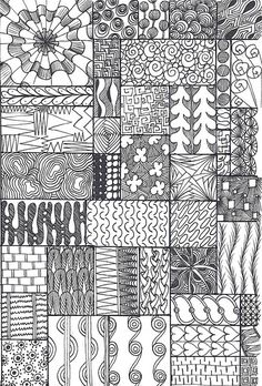 zentangle sampler by *carolion*, via Flickr - Sourced from all over. I made this for my senior students, grades 4-6, who had mastered  or were just tired of my other samplers.