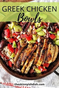 One of the most flavorful meal prep recipes around are these easy and healthy Greek Chicken Bowls. Delicious warm chicken dressed with the greek tastes we all love; olives, cucumbers, olive oil, feta and more. You'll love this fresh and delicious meal! #greek #chickenbowls #ww Mediterranean Diet Recipes, Mediterranean Dishes, Clean Eating Snacks, Eating Raw, Foodies, Cooking Recipes, Crockpot Recipes, Cooking Ribs, Cooking Cake