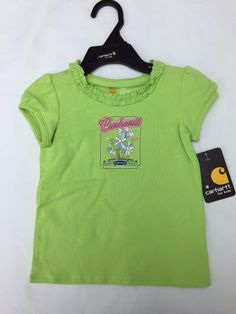 Carhartt CA9061 Toddler Girl's Ruffle Neck Tee Green Size 9M or 18M NWT! #Carhartt #Everyday
