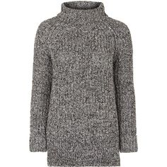 TOPSHOP Tweed Oversize Rib Roll Jumper (250 RON) ❤ liked on Polyvore featuring tops, sweaters, jumpers, monochrome, roll top, jumpers sweaters, thick knit sweater, topshop jumper and jumper top