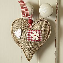 "Fun heart -- pretty, delicate, country, floral, gingham, polkadots, burlap, and a red wooden (I think it's wood) bead! So many wonderful things combined in such a nice small ""package!"""