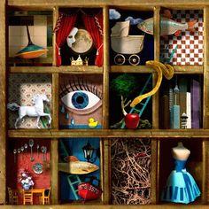A twist on Joseph Cornell? Collages, Collage Art, Joseph Cornell Boxes, Mixed Media Boxes, Sculpture Lessons, Shadow Box Art, Found Object Art, Assemblage Art, Art Plastique