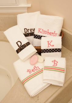 New Monogrammed Bath Towel Sets With Ribbon Accents