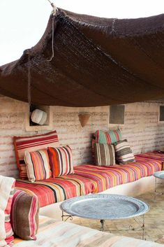 An exotic spa riad spot! El Fenn with Claire Zinnecker Moroccan Interiors, Moroccan Decor, Outdoor Spaces, Outdoor Living, Middle Eastern Decor, Riad Marrakech, Patio Canopy, Window Canopy, Beach Canopy