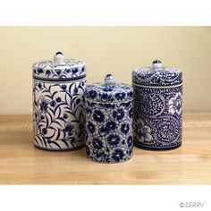Floral Canister Set  Hand painted with intricate detail, this set of 3 functional ceramic canisters features varied floral patterns. #fairtrade www.serrv.org