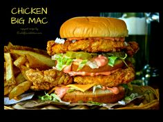 A Chicken Big Mac! Absolutely DELICIOUS and 2 chicken breasts makes FOUR of these babies! Chicken Big Mac, Fried Chicken Sandwich, Chicken Snacks, Grilled Sandwich, Grilled Chicken, Chicken Filet, Chicken Patties, Copycat Recipes, Beef Recipes