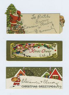 Lot 9 Vintage Christmas Gift Tags Cards Santa Claus Brown Suit Red Suit CV4344…
