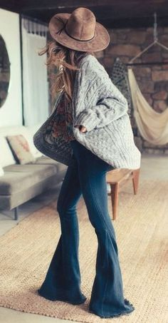 winter bohemian style inspiration / hat + knit cardi + jeans + top