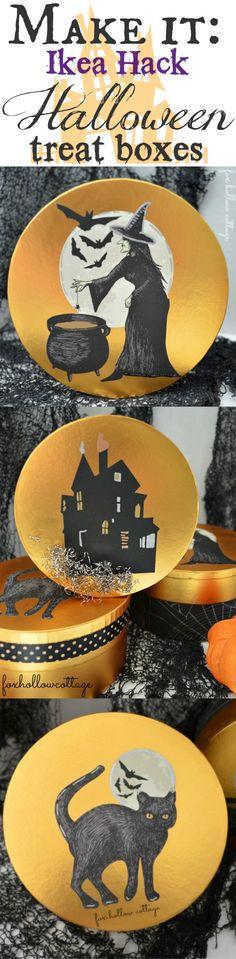#Ikea Hack Halloween Craft: Martha Stewart @Alissa Huybers Crafts  Decoupage #Halloweencraft - #MSHalloween #sponsored #giftbox