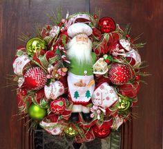 Chef Santa Christmas Wreath by HertasWreaths on Etsy
