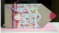 Karte zum Schulanfang, rosa/pink von Blütenstempel auf DaWanda.com