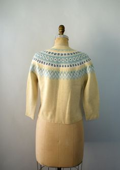 Vintage 1950s Sweater Hand Knit Fair Isle by Sweetbeefinds