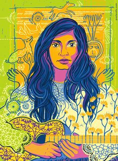 """Violeta Parra by Paola Rollo. A portrait for """"Goodnight stories for rebel girls a project by Timbuktu Labs. Hey Mr Dj, Good Night Story, Powerful Women Quotes, Book Projects, Caricature, Book Worms, Stencil, Illustration Art, Sketches"""