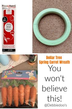 Dollar Tree Spring Carrot Wreath - Debbiedoos
