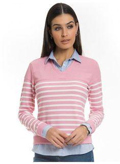 sueter camisa listrado rosa principessa marli look a6ad08a4e6484