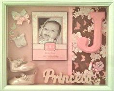 Shadow Box 12 x 16 - Personalized For a Baby Announcement and/or Photo. $125.00, via Etsy.  Another cute one!
